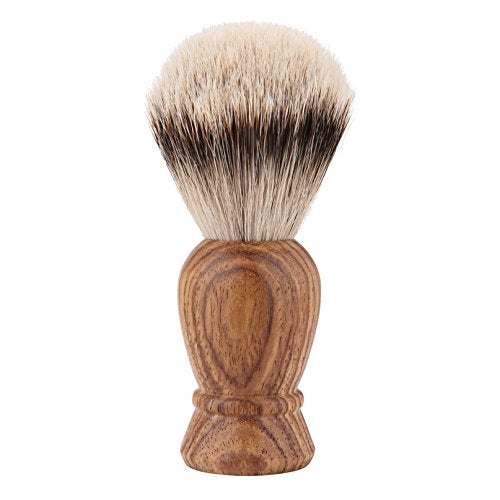 Silvertip Shaving Brush, QSH 100% top Quality Silvertip Badger Hair with Imported Ox Horn Color Resin Material Handle Luxury Facial Care Tools for Safety Razor, Double Edge Razor (QSH011)