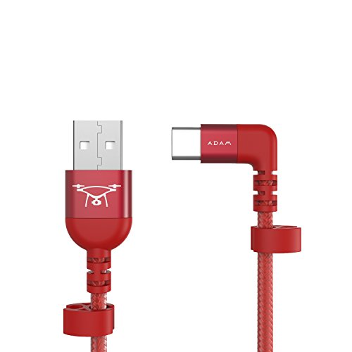 "Nylon Braided Type C USB Cable Perfect Fit For DJI Mavic & Phantom Controller, Connector Charging & Syncing for Type-C Devices, Apple iPhone iPad 90 degree ""L"" Type by Adam Elements - Red"