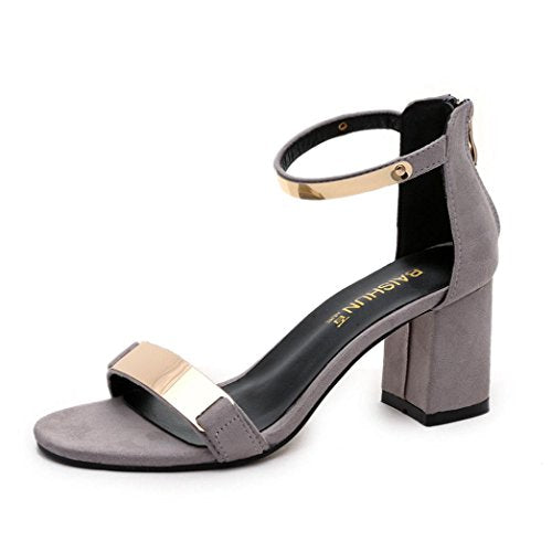 Women Sandals,TurningPo Summer Sandals Open Toe Women Sandles Thick Heel Shoes Gladiator Shoes (7, Gray)