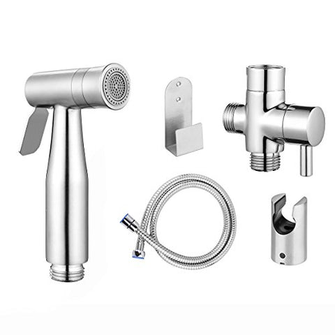 Bidet Sprayer, Konesky Cloth Diaper Sprayer Premium Stainless Steel Bathroom Handheld Bidet Shattaf Sprayer, For Personal Hygiene & Cleaning Care with T-adapter and Hose (Dual Sprayer Mode)