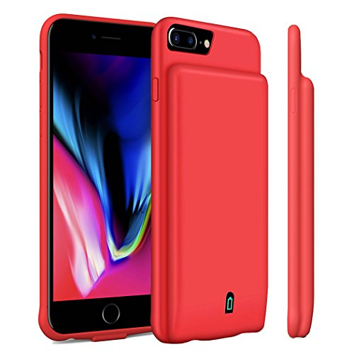 [ UPGRADED ] iPhone 8 Plus/ 7 Plus Battery Case ,MAXBEAR 7000mAh Portable Ultra Slim External Battery Charging Case Support Headphones Battery Pack for iPhone 8 Plus, iPhone 7 Plus (5.5 inch) (Red)