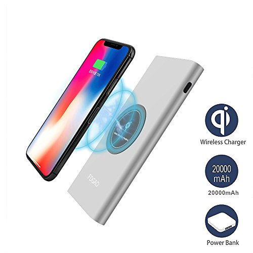 Wireless Portable Charger DoSHIn 20000mAh QI Charging Power Bank Aviation Aluminum Metal Wireless Charger Power Bank with LED External Battery Pack for iPhone X/8/8 Plus,iPad,Samsung Galaxy S8 Silver