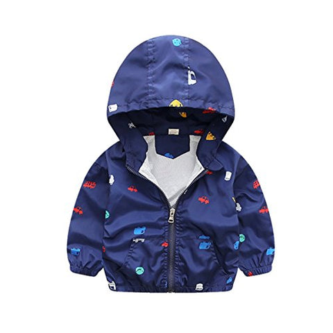 Foyeria Jacket Coat Outerwear Spring Print Cartoon Hooded Casual Water Resistance For Baby Girls Boys (Blue, 4T)