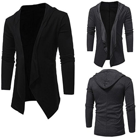 Sikye Men's Hodded Sweater Slim Design Solid Shawl Collar Cardigan Coat Fall Male