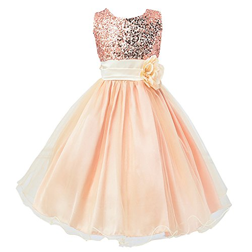 f4d12c9e7cb FREE FISHER Flower Girls Dress For Wedding Party With Sequins Champagne 150