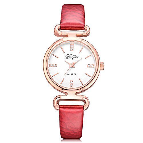 Womens Watches on Sale Clearance COOKI Women's Ladies Teen Girls Fashion Dress Pointer Wrist Quartz Watch with Leather Band Casual Simple Analog Quartz Watches Classic Wristwatch X75 (Red)