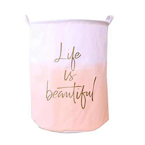 YJYDADA Waterproof Canvas Laundry Clothes Basket Storage Basket Folding Storage Box (B)