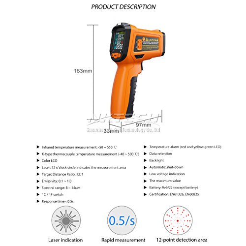 NKTECH NK-200C LCD Digital Laser Infrared IR Gun Thermometer -50~800°C  Ambient Temperature Thermocouple K-Type -40~500°C 12:1 Non-contact Tester