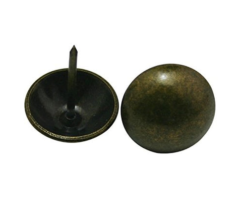 "Generic Round Large-headed Nail 0.8"" Diameter Color Antique Brass for Sofa Decoration Pack of 30."