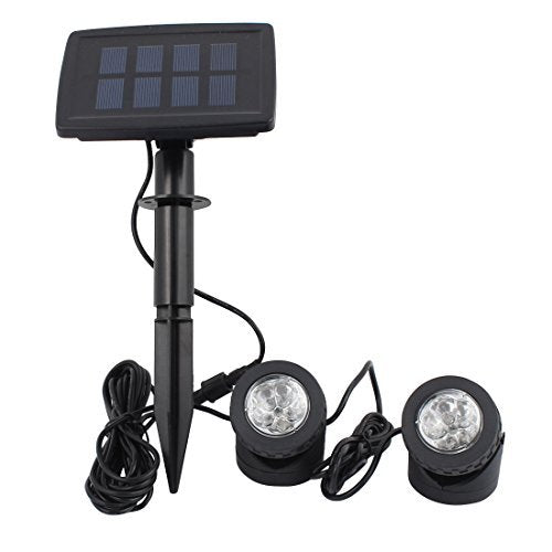 DealMux Black Solar Power 12 LEDs Landscape Spotlight Projection Light w 2 Submersible Lamps for Garden Pool Outdoor Decoration Lighting Underwater Light