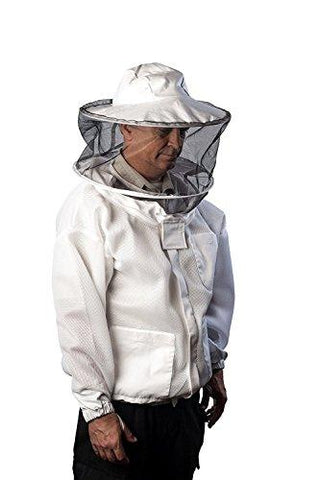 Pro-Breeze Ventilated Beekeeping Jacket For Men/Women By Forest Beekeeping Supply | Round Vented Apiary Jacket W/Veil Hood For Beginner/Commercial Beekeepers | Brass Zippers and Thumb Straps (X-LARGE)