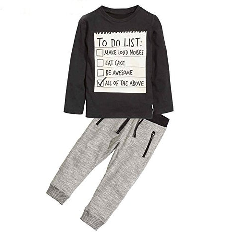 Jobakids Boys 2 Pieces Set Boys Cotton Clothing Set(Black,6T)