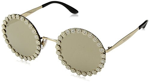 Dolce & Gabbana Women's Daisy Round Sunglasses, White/Gold, One Size