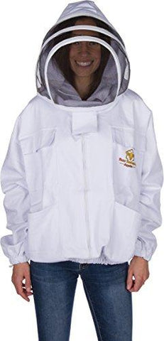 Professional Beekeeping Suit Jacket for Men and Women (Small) - Total Protection - Self-Supporting Fencing Veil for Beekeepers - Easily Take On & Off - 6 Pockets - Good for Beginners as well (White)