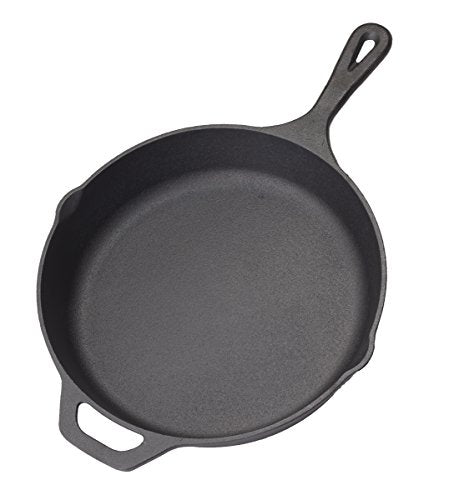 "Cast Iron Skillet Non-Stick Pan (Black, 12"" Inch) Cast Iron Kitchen Cookware Skillet Set - Home & Commercial Frying Pans - Heat Retention - Rust Resistant - Heavy Duty Nonstick Bakeware by Homerware"