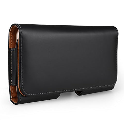 Premium PU Leather Horizontal Executive Belt Holster Pouch Case for iPhone 8 Plus / LG V30 / Samsung Galaxy S8 Active / Note 8 / Motorola Moto G5s Plus / E4 Plus / Z2 Play / Force / HTC U11 / U Ultra