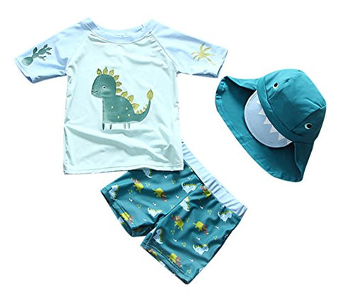 Baby Toddler Boys Two Pieces Swimsuit Set Boys Dinosaur Bathing Suit Rash Guards With Hat UPF 50+ Blue 2T