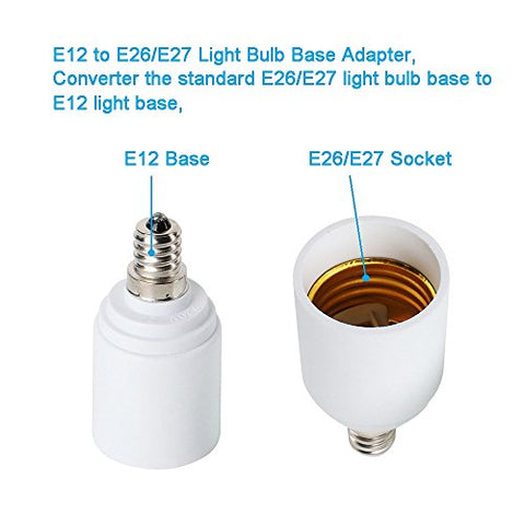 (12PACK) E12 to E26 Light Base Socket Adapter, Light Bulb Base Socket Adapter Converter, Light Socket Adapter, Convert Chandelier Socket E12 to Medium Socket E26, 12Pack