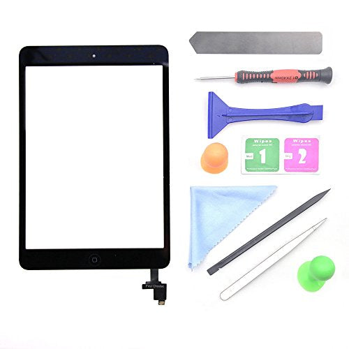 Black iPad Mini 1 or 2 Touch Screen Digitizer Complete Assembly with IC Chip & Home Button replacement with tool kit Chips