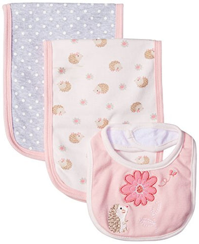 Rene Rofe Baby Little Kids 3 Pack Burp Cloths and Bib Set, Pink Flower, Newborn