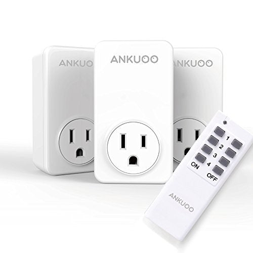 Wireless Light Switch, Remote Control Outlets Switch, Smart Energy-Saving Electrical Plug for Household Appliances, 3 Pack Plus 1 Remote, White