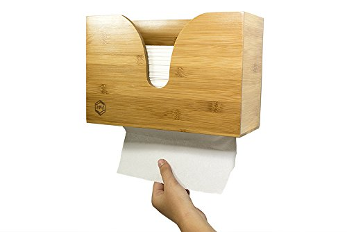fd54c3f2db5 Bamboo Dual-Dispensing Multi-Fold Paper Towel Holder. Wall Mount or use on
