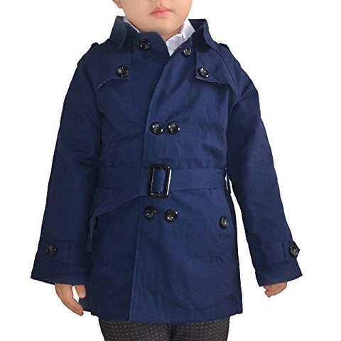 Enoufellama Boys kids Fashion Double Breasted Belted Long Trench Coat Jacket Parka (7-8years, Dark blue)