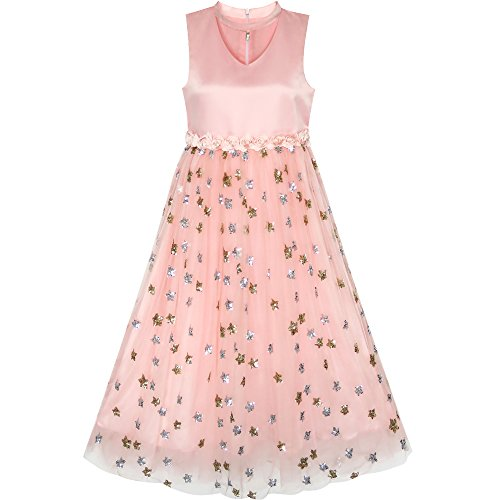f462a49f5247 Sunny Fashion LE92 Flower Girls Dress Sparkling Sequins Star Pearl Wedding  Party Size 8