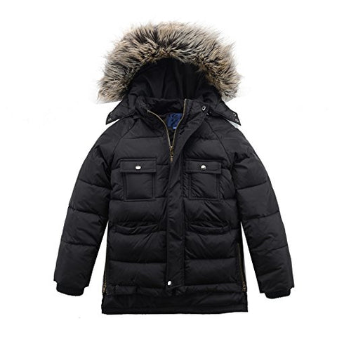 M2C Boys Winter Faux Fur Hooded Warm Insulated Jacket Parka 6/7 Black