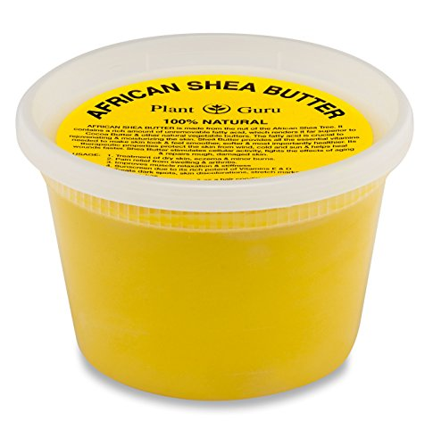 Plant Guru African Shea Butter Raw Unrefined Grade A 100% Pure Natural Gold/Yellow 16 oz. DIY Body Butters, Lotion, Cream, lip Balm & Soap Making Supplies, Eczema & Psoriasis Aid, Stretch Marks