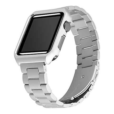 Apple Watch Bands 42mm, Maxjoy iWatch Bands Milanese Loop Stainless Steel Straps with Magnetic Closure Clasp + Protective Case for Apple Watch 42mm Series 3/2/1 Sports Edition Men Women Silver