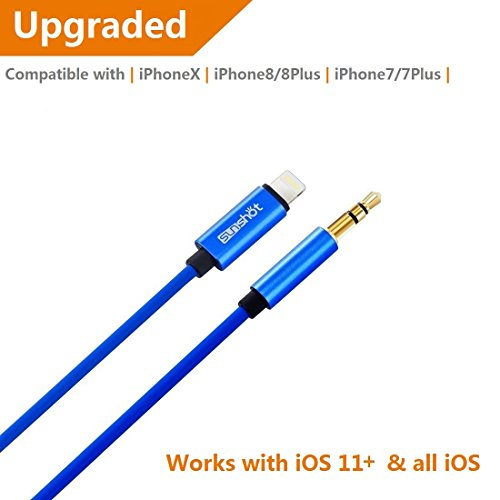 [Upgraded] Lightning to 3.5mm Male Aux Stereo Audio Cable, Compatible with iOS 11 or Above, iPhone 7 / 7P / 8 / 8P / X or Any Lightning Port to Car Stereo Speakers or Headphone Audio Jack (Blue)
