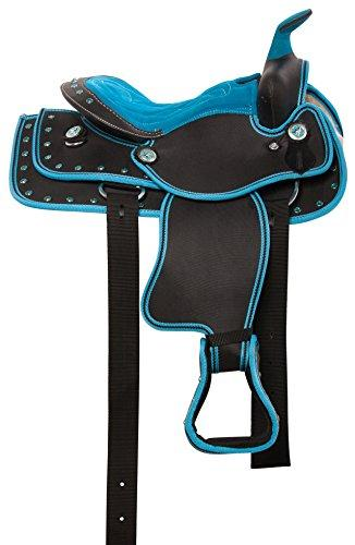 BLUE SHOW WESTERN PLEASURE TRAIL BARREL RACING SYNTHETIC YOUTH KIDS HORSE  SADDLE TACK SET 10 12 13