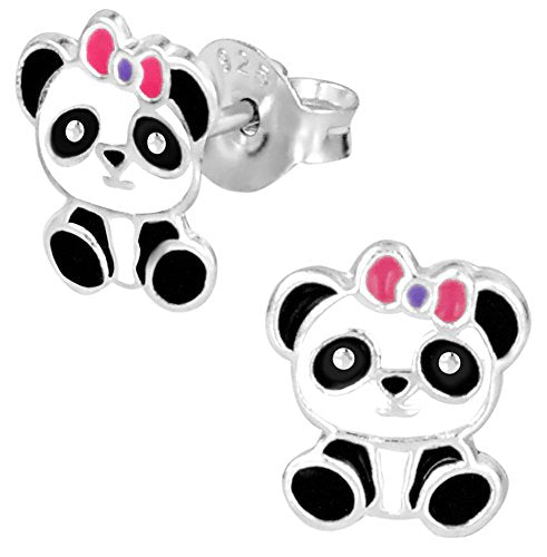 Hypoallergenic Sterling Silver Baby Panda With Pink Bow Stud
