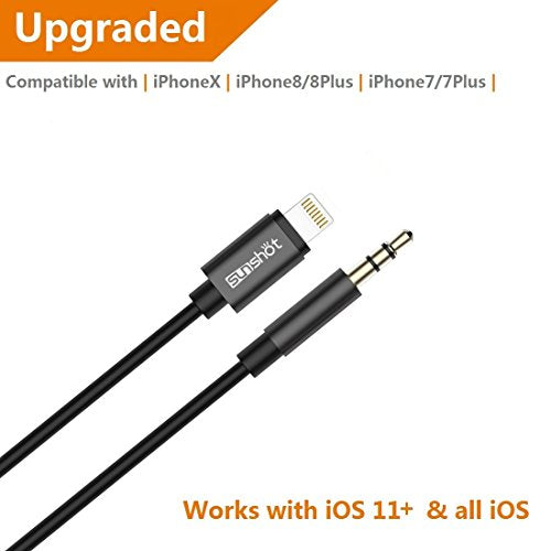 [Upgraded] Lightning to 3.5mm Male Aux Stereo Audio Cable, Compatible with iOS 11 or Above, iPhone 7 / 7P / 8 / 8P / X or Any Lightning Port to Car Stereo Speakers or Headphone Audio Jack (Black)