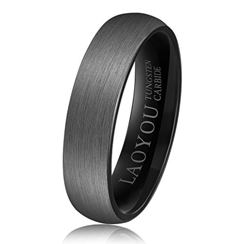 Tungsten Wedding Ring for Men Women 6mm Mens Engagement Promise Band Black Brushed Comfort Fit Pure White Tungsten Carbide Rings Set Jewelry Sets Gift for Boys Girls Size 10.5