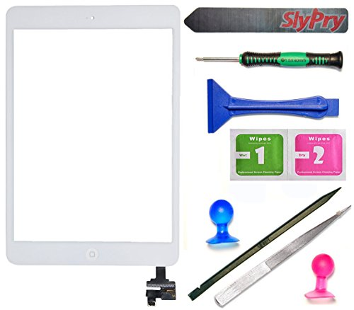 Prokit For iPad Mini Touch Screen Digitizer Complete Assembly with IC Chip & Home Button replacement with SlyPry opening tool kit Ships from CA USA (Mini 1/2 white)