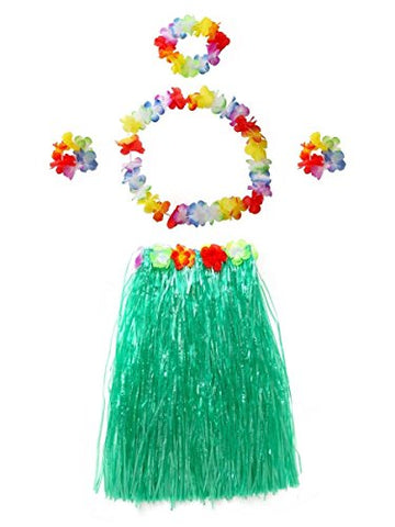 CISMARK Women's Hawaiian multicolor grass hula skirt (Green 5pcs/ set)