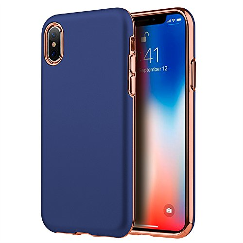 For iPhone X Case, Kaleidio [Sublime Armor] 2-Piece Slim Fit Dual Layer [Shockproof] Electroplated TPU Hybrid Cover for Apple iPhone X / iPhone 10 [Includes a Overbrawn Prying Tool] [Blue/Rose Gold]