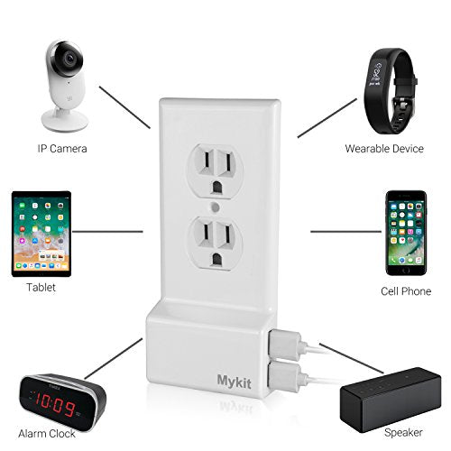 Dual USB Wall Plate Snap Power Outlet Cover Wall Outlet with USB Ports USB  Charger Outlet Fast Charging Easy To Install for iPhone iPAD Android Phones