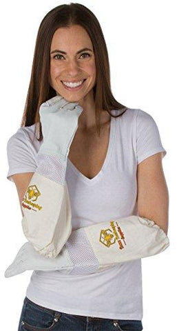 Goatskin Beekeeping Gloves (Medium) - for Men and Women Elastic Sting Proof Canvas Cuffs Ventilated for Comfort Goat Skin Leather Apiary Bee Gloves Ideal for Professional or Beginning Beekeeper