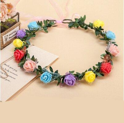 Flower Wreath Headband - Adult Kids Artificial Flower Garland Wreath Headdress Band Hair Hoop Headband Bride Princess Crown Birthday Wedding Decoration - Floral Wreath Headband (Colorful)