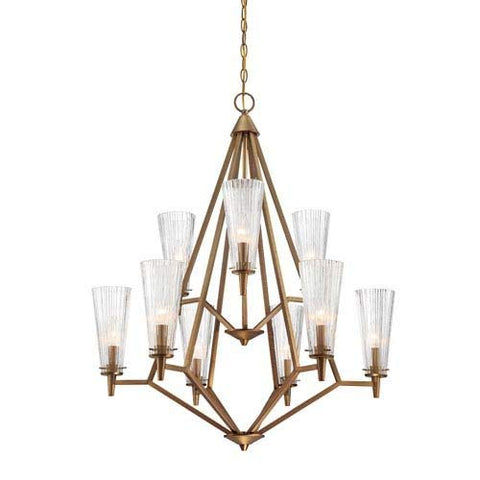Designers Fountain 88989-OSB Montelena 9 Light Chandelier, Old Satin Brass