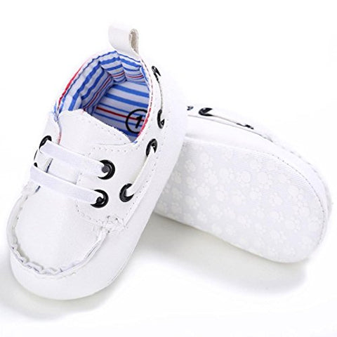Voberry Newborn Baby Boy Girl Leather Crib Shoes Toddler Soft Sole Sneakers (0~6 Month, White)
