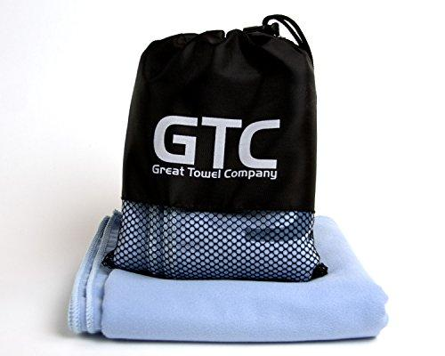 "Great Towel Company (GTC) Microfiber Quick Dry Sports and Travel Towel - XL 52"" X 28"". Ideal for Gym, Fitness, Yoga, Swimming and Camping. Compact with Mesh Bag"