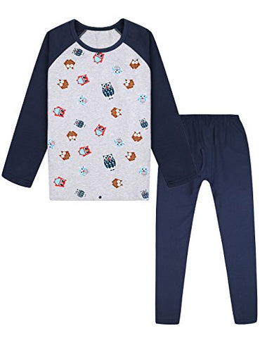 Dola-Dola Little Boys 2 Piece Dinosaur Pajamas Set Kids Cotton Sleepwear Set Cartoon Clothing Set by (7-8, Navyblue)