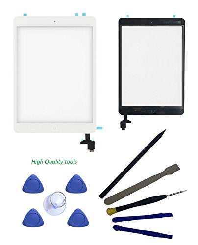 FeiyueTech Screen Replacement for iPad Mini & Mini 2 Touch Screen Digitizer Complete Assembly with IC Chip & Home Button & PreInstalled Adhesive and opening tool kit . (white)