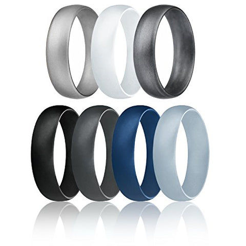 ROQ Silicone Wedding Ring For Men, Affordable 6mm Metallic Silicone Rubber Wedding Bands, Comfort Fit, Singles, 4 & 7 Packs - Black, Grey, Silver, Blue, White