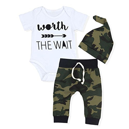 0573596deca6c Oklady Newborn Baby Boys Cute Letter Print Romper Clothing + Camouflage  Pants + Hat Outfits Set