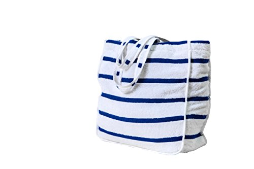 White Beach Tote Bag with Blue Stripes for Women, 100% Soft Terry Towel, Waterproof, Large